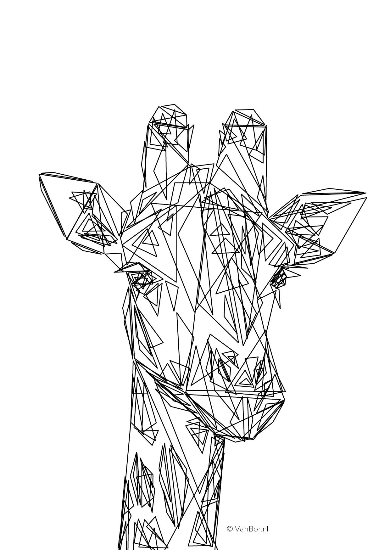 A6 ansichtkaart 105 x 148 mm Triangles Giraffe